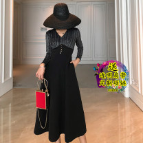 Dress Autumn 2021 Black, red S,M,L,XL,2XL longuette singleton  Long sleeves commute V-neck High waist Solid color Socket A-line skirt Others 18-24 years old Type A Other / other Korean version Buttons, panels, pockets