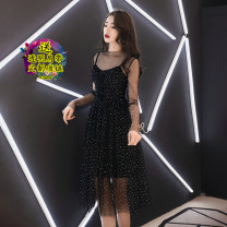Dress Autumn 2021 S,M,L,XL longuette Two piece set Long sleeves commute Crew neck High waist Solid color Socket Big swing routine camisole 18-24 years old Type A Korean version Gauze, Sequin