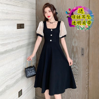 Dress Summer 2021 Black original S,M,L,XL,2XL Mid length dress singleton  Short sleeve commute square neck High waist Solid color zipper A-line skirt puff sleeve 18-24 years old Type A Korean version Splicing