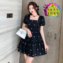 Dress Summer 2021 White, black S,M,L,XL Short skirt singleton  Short sleeve commute square neck High waist Solid color zipper Big swing 18-24 years old Type A Korean version