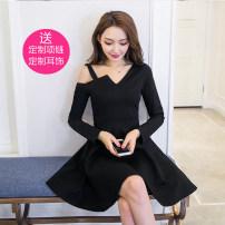 Dress Autumn 2021 black S,M,L,XL,2XL Short skirt other Long sleeves commute Slant collar High waist Solid color zipper A-line skirt routine Oblique shoulder 18-24 years old Type A Korean version