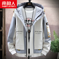 Jacket NGGGN Youth fashion 4XL M L XL 2XL 3XL routine easy Other leisure autumn Polyester 100% Long sleeves Wear out Hood tide teenagers routine Zipper placket Rubber band hem No iron treatment Closing sleeve Geometric pattern polyester fiber Autumn 2020 More than two bags) Side seam pocket