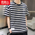 T-shirt Youth fashion Black grey red thin M L XL 2XL 3XL 4XL NGGGN Short sleeve Crew neck easy Other leisure summer NJRTWTX912A2586 Cotton 95% polyurethane elastic fiber (spandex) 5% teenagers Off shoulder sleeve tide Knitted fabric Summer 2021 stripe stripe cotton Geometric pattern No iron treatment