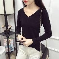 T-shirt Spring of 2019 Long sleeves V-neck Self cultivation Regular routine commute cotton 86% (inclusive) -95% (inclusive) 25-29 years old Korean version classic Solid color Hani tide