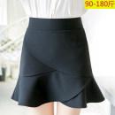 skirt Spring 2021 M,L,XL,2XL,3XL black Short skirt commute High waist Ruffle Skirt Solid color Type A 25-29 years old werfggfd Korean version