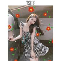 Dress Summer 2020 Garden grid S,M,L,XL Short skirt singleton  Sleeveless commute One word collar High waist lattice Socket A-line skirt routine camisole 18-24 years old Type A Retro 71% (inclusive) - 80% (inclusive) polyester fiber