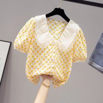 Lace / Chiffon Summer 2020 Yellow white S M L XL Short sleeve commute Cardigan singleton  easy have cash less than that is registered in the accounts Doll Collar Solid color puff sleeve 18-24 years old Saronala / saonara SOMA740-1005 Ruffle embroidered wave button lace Korean version Other 100%