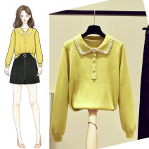 Wool knitwear Autumn of 2019 S M L XL Yellow green black pink light coffee Long sleeves singleton  Socket other More than 95% Regular routine commute easy Doll Collar routine Solid color Socket Korean version SOM166401 18-24 years old Saronala / saonara Button Other 100% Pure e-commerce (online only)