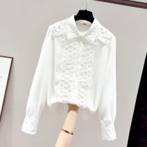 shirt white S M L XL Spring 2021 other 96% and above Long sleeves commute Regular Polo collar Single row multi button routine Solid color 18-24 years old Straight cylinder Saronala / saonara Korean version SOM8285-23 Stitching buttons Other 100% Pure e-commerce (online only)