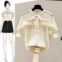 Lace / Chiffon Summer 2020 Apricot blue S M L XL Short sleeve commute Socket singleton  easy Regular Crew neck Dot pagoda sleeve 25-29 years old Saronala / saonara SOMa719/8683 Stitching of Auricularia auricula with bow and lotus Korean version 96% and above Other 100% Pure e-commerce (online only)