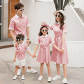 Parent child fashion Sky blue pink A family of three Women and men summer leisure time routine stripe shirt cotton L M XL XXL XXXL Class B M L XL XXL Summer of 2019 2 years old, 3 years old, 4 years old, 5 years old, 6 years old, 7 years old, 8 years old, 10 years old Chinese Mainland