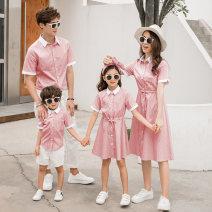Parent child fashion Sky blue pink A family of three Women and men summer leisure time routine stripe shirt cotton L M XL XXL XXXL Class B M L XL XXL Summer of 2019 2 years old, 3 years old, 4 years old, 5 years old, 6 years old, 7 years old, 8 years old, 10 years old Chinese Mainland