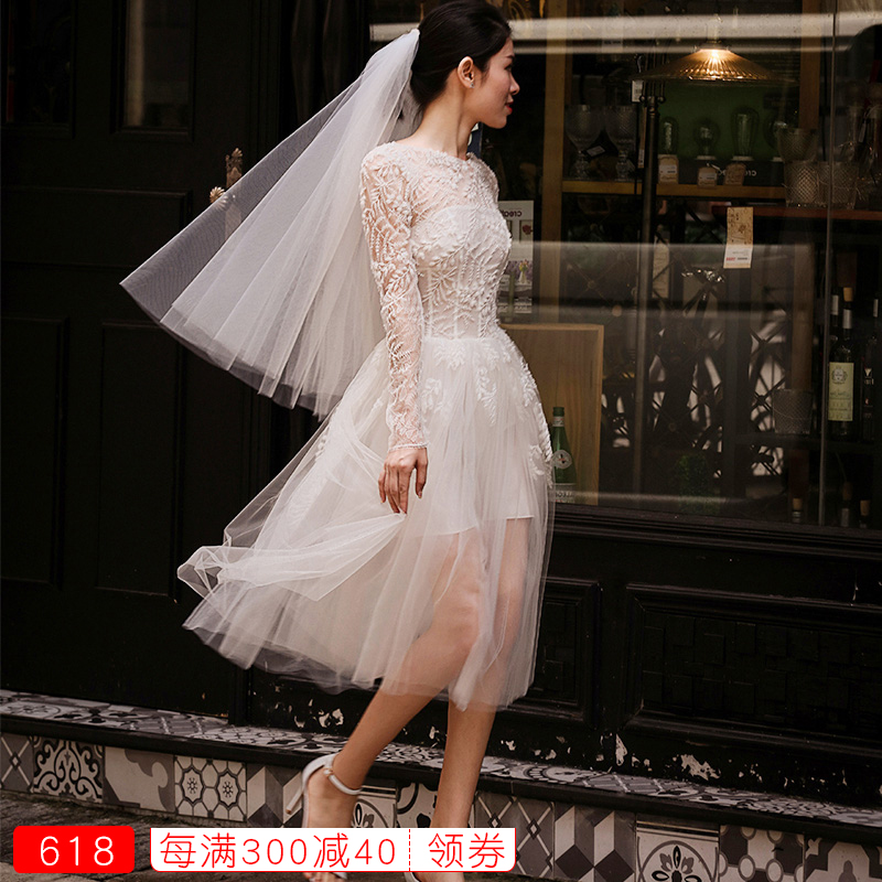 Wedding dress Summer of 2018 white SMLXLXXL New trend Skirt hem Bandage seaside beach One shoulder Netting Three dimensional cutting HS726 middle-waisted 25-35 years old Embroidery Sleeved shawl spring flower and autumn moon -- seasonal views Large size Pure e-commerce (online only)