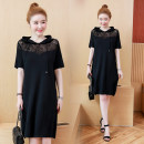 Dress Summer 2020 black L,XL,2XL,3XL,4XL,5XL Miniskirt singleton  Short sleeve commute Hood Loose waist Solid color Socket Pencil skirt routine Others 35-39 years old Type H Korean version Embroidery 31% (inclusive) - 50% (inclusive) other
