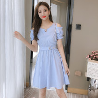 Dress Summer 2020 Pink Blue S M L XL Short skirt singleton  Short sleeve commute Crew neck High waist Solid color Socket A-line skirt routine Others 25-29 years old Type A Small town winding path Korean version L20F293 More than 95% other Other 100%