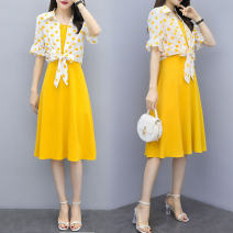 Dress Summer of 2019 Yellow blue S M L XL Mid length dress Two piece set Short sleeve Sweet V-neck middle-waisted Dot Socket A-line skirt pagoda sleeve camisole 18-24 years old Type A Small town winding path bow L19B319 More than 95% Chiffon other Other 100% Mori