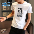 Sports T-shirt Erke / hongxingerke S M L XL 2XL 3XL 4XL Short sleeve male Crew neck 217219015-0308 Self cultivation Moisture absorption and perspiration, quick drying, ultra light and breathable Spring 2020 Brand logo letter run Men's running Cotton polyester yes