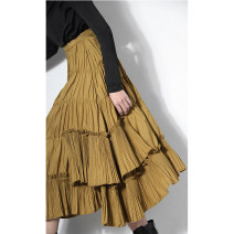 skirt Spring 2021 S. M, l, XL, s [3-5 days], m [3-5 days], l [3-5 days], XL [3-5 days] yellow Mid length dress A-line skirt Type A 18-24 years old 51% (inclusive) - 70% (inclusive) D. M / Chen Damei cotton Fold, zip, splice