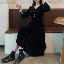 Dress Winter 2020 black S [90-100 kg], m [100-110 kg], l [110-120 kg], XL [120-135 kg], 2XL [135-150 Jin], 3XL [150-165 kg], 4XL [165-175 Jin], 5XL [175-200 Jin] Mid length dress singleton  Long sleeves commute other High waist other A-line skirt other Others 18-24 years old Type A Korean version