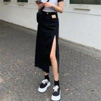 skirt Spring 2021 S [90-100kg], m [100-110kg], l [110-120kg], XL [120-135kg], 2XL [135-150kg], 3XL [150-165kg], 4XL [165-175kg], 5XL [175-200kg] Blue, black Mid length dress sexy High waist Denim skirt Solid color