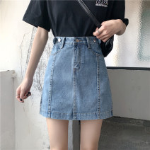 skirt Summer 2020 S [90-100kg], m [100-110kg], l [110-120kg], XL [120-135kg], 2XL [135-150kg], 3XL [150-165kg], 4XL [165-175kg], 5XL [175-200kg] wathet Mid length dress commute High waist Denim skirt Solid color Type A 18-24 years old other Old, button Retro