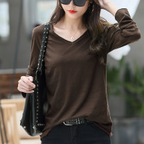 T-shirt Brown, white S,M,L,XL,2XL,3XL Autumn 2020 Long sleeves V-neck easy Regular routine commute cotton 96% and above 25-29 years old Korean version classic Solid color Original Pockets, stitching
