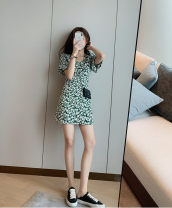 Dress Spring 2021 Green floral short, green floral long XS,S,M,L Short skirt singleton  Short sleeve commute V-neck High waist Broken flowers A-line skirt puff sleeve 18-24 years old Type A printing