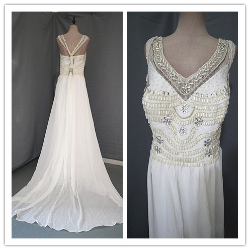 Dress / evening wear Wedding adult party company annual meeting performance Waist 99cm white Chemical fiber Chiffon