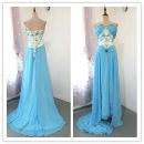 Dress / evening wear Wedding adult party company annual meeting performance XL sky blue Chemical fiber Chiffon