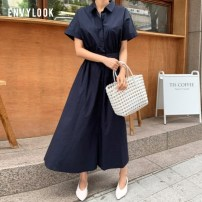 Dress Summer 2020 Blue Beige navy blue Average size longuette singleton  Short sleeve commute Polo collar High waist Solid color Single breasted A-line skirt Bat sleeve 18-24 years old envylook Button polyester fiber