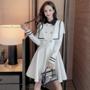 Dress Spring 2021 White, black S,M,L,XL Miniskirt singleton  Long sleeves commute Polo collar High waist Solid color Socket A-line skirt routine Others 18-24 years old Type A lady Three dimensional decoration 31% (inclusive) - 50% (inclusive) other polyester fiber