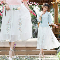 skirt Summer 2021 Average size White, black, pink longuette Versatile High waist other Type A 81% (inclusive) - 90% (inclusive) Chiffon National tone nylon Embroidery, fold