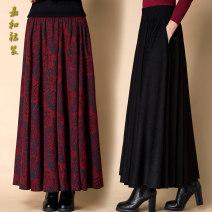 skirt Winter of 2019 S. M, l, XL, 2XL, custom shot longuette commute High waist A-line skirt Decor 91% (inclusive) - 95% (inclusive) cotton printing ethnic style