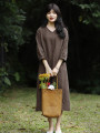 Dress Summer 2021 coffee S,M,L,XL Mid length dress singleton  three quarter sleeve commute V-neck Loose waist Solid color Socket A-line skirt bishop sleeve Type A Simplicity Pocket, lace up More than 95% hemp