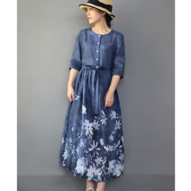 Dress Summer 2021 Blue skirt with white flowers S,M,L,XL Middle-skirt singleton  elbow sleeve commute Crew neck Loose waist Decor Single breasted A-line skirt routine Type H ethnic style pocket , printing , Frenulum , Bandage C0380 - three hundred and three 91% (inclusive) - 95% (inclusive) hemp