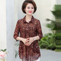 Middle aged and old women's wear Spring 2021, summer 2021 Light brown M,L,XL,XXL,XXXL,4XL,5XL,6XL fashion T-shirt easy singleton  other 40-49 years old Socket thin Polo collar Medium length routine Muyang Diamond inlay 96% and above 3 / 5 sleeve