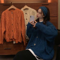 Women's large Autumn 2020 Blue, apricot, orange S (75-95 kg), m (95-105 kg), l (105-120 kg), XL (120-140 kg), 2XL (140-160 kg), 3XL (160-180 kg), 4XL (180-200 kg) sweater singleton  commute easy moderate Cardigan Long sleeves Korean version Crew neck routine other routine 18-24 years old Button