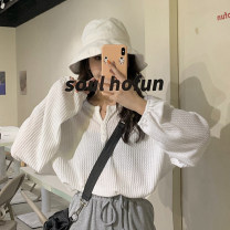 Women's large Autumn 2020 White, black, grey S (75-95 kg), m (95-105 kg), l (105-120 kg), XL (120-140 kg), 2XL (140-160 kg), 3XL (160-180 kg), 4XL (180-200 kg) T-shirt singleton  commute easy thin Socket Long sleeves Solid color Korean version Crew neck routine other Three dimensional cutting Button