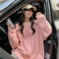 Women's large Spring 2021 Orange, gray, pink S (75-95 kg), m (95-105 kg), l (105-120 kg), XL (120-140 kg), 2XL (140-160 kg), 3XL (160-180 kg), 4XL (180-200 kg) Sweater / sweater singleton  commute easy moderate Cardigan Long sleeves Solid color Korean version stand collar Medium length other routine