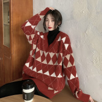 Women's large Winter 2020 Red, white S (75-95 kg), m (95-105 kg), l (105-120 kg), XL (120-140 kg), 2XL (140-160 kg), 3XL (160-180 kg), 4XL (180-200 kg) sweater singleton  commute easy thickening Socket Long sleeves shape Korean version Half high collar routine other routine 18-24 years old