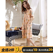 Nightdress Moonmeyno / mengmino Picture color d2225 - Strawberry bear d2227 - Strawberry for girls 160(M) 165(L) 170(XL) 175(XXL) Sweet Short sleeve Leisure home Middle-skirt summer Plants and flowers youth Small lapel cotton printing More than 95% pure cotton MMN4363 200g and below Spring 2021