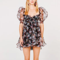 Dress Summer 2021 Decor S,M,L Short skirt singleton  Short sleeve street V-neck High waist Socket Europe and America