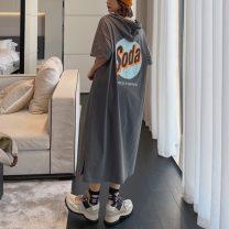 Dress Summer 2021 dark grey L,XL,2XL,3XL longuette singleton  Short sleeve commute Hood Loose waist letter Socket One pace skirt routine Type H Korean version printing 91% (inclusive) - 95% (inclusive) knitting cotton
