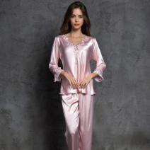Pajamas / housewear set female Other / other Average size Pink, red, light lotus root powder, apricot nightdress, pink nightdress, lotus root powder nightdress, red nightdress silk three quarter sleeve sexy pajamas spring Thin money V-neck youth One piece