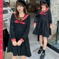 Dress Autumn 2020 black XL 2XL 3XL 4XL Short skirt singleton  Long sleeves Sweet V-neck High waist Solid color Socket Princess Dress routine 25-29 years old Type A Nuozhu Pleated Auricularia auricula splicing NZ20-7273 More than 95% polyester fiber college Pure e-commerce (online only)