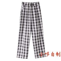 Casual pants Black and white check S,M,L,XL Autumn 2020 trousers Straight pants High waist commute A5GBA3A37 Bella cara lady