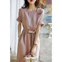 Dress Spring 2021 Foggy powder S (35 days delivery), m (35 days delivery), l (35 days delivery), XL (35 days delivery) Middle-skirt singleton  Short sleeve commute Crew neck Solid color Socket other other Xhange / Xiaohan Pavilion Ol style Pocket, lace up, stitching SQ392749MG More than 95% silk