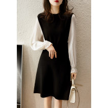 Dress Spring 2021 Black S (spot), m (spot), l (spot), XL (spot) Mid length dress singleton  Long sleeves commute Crew neck middle-waisted other Socket other bishop sleeve Others Xhange / Xiaohan Pavilion Ol style Fold, splice, thread ZQP362548VG More than 95% wool