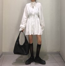 Dress Autumn of 2019 White, black Average size Mid length dress singleton  commute 18-24 years old Other / other Korean version