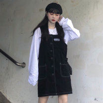Dress Autumn of 2019 White, black skirt M. L, XL, one size fits all Short skirt commute straps 18-24 years old Type H Other / other Korean version 71% (inclusive) - 80% (inclusive) other cotton